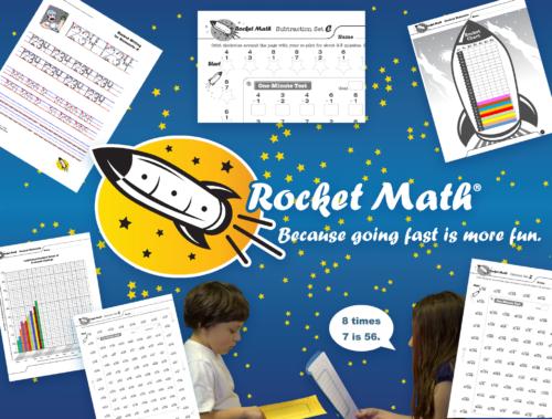 Rocket Math worksheets on starfield logo